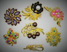 Wholesale Lot 7 Pins  Vintage Style  Brooches Pins gold/mix color  Bouquet