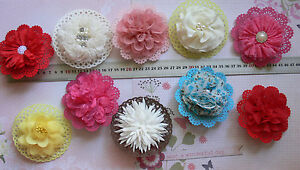 HairClip &/or Dress Pin Flower with Doily 10cmAcross Fabric 8Type Choice NJC HC4