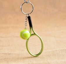 Fashion Novelty Metal Tennis Racket Ball Toy Pendant Charm Keychain Keyring Gift