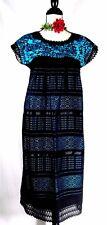 5 de Mayo Mexican Black Dress Hand loom Blue Embroidery Frida Cotton vtg L/XL