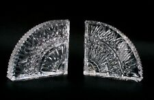 HEAVY SPARKLING PAIR WATERFORD CUT CRYSTAL BOOKENDS BOOK ENDS QUADRANT FAN CLEAR