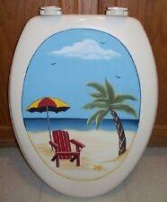 BEACH SCENE TOILET SEAT/PALM TREE/UMBRELLA/ CHAIR /ELONGATED/SINGLE SIDED