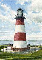 Mount Dora Lighthouse Lake Dora Florida Matted Watercolor Art Prints