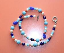 Bunte Perlenkette Halskette 50 cm Farben: Türkis blau Perlweiß Koralle Handarbei