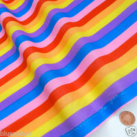 "Rainbow stripe polycotton fabric Purple yellow blue 44"" wide 112cm per metre"