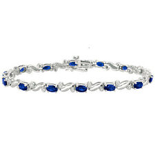 5.42 CARAT BLUE SAPPHIRE DIAMOND TENNIS ETERNITY BRACELET 14K WHITE GOLD 7 INCH