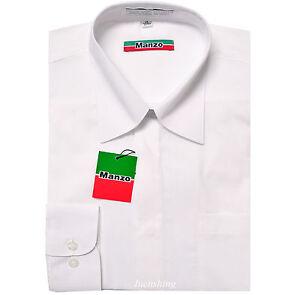 New men's shirt dress formal fly front long sleeve prom wedding white