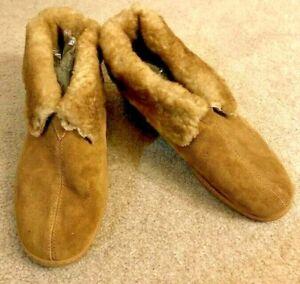 MINNETONKA Moccasin Men's Slipper Boot Tan Size 11 Fully Lined