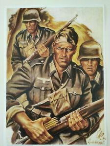 Wehrmacht  Kunstdruck Poster Infanterie Spähtrupp K98k Panzergrenadier  Neu