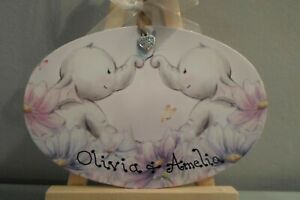 Gorgeous Elephant  Gift Plaque, Twins, New Baby, Boy, Girl. Room name plaque