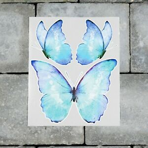 3 x Butterfly Vinyl Stickers Decals - Waterclolour Style - Self Adhesive