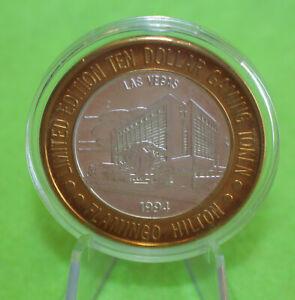 FLAMINGO HILTON 1994 LAS VEGAS .999 FINE SILVER $10 GAMING TOKEN
