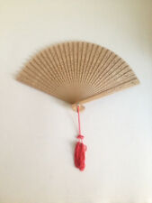 Wooden Hand Fan with Red Hanging Tassel