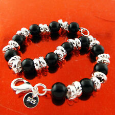 BRACELET BANGLE GENUINE REAL 925 STERLING SILVER S/F SOLID ONYX BEAD BALL DESIGN