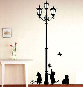 Home Wall Decoration Sticker Cat Black Lamp Decal Decor Art Kid Gift Wallpaper