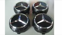 AMG BLACK Set Wheel Centre Caps 75mm EDITION ONE Mercedes Benz Most Models A C E