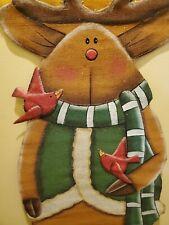 54 inch REINDEER CARDINAL WELCOME DOOR CANVAS WALL  CHRISTMAS DECORATION WREATH