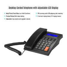 Corded Phone Desktop Fixed Landline Telephone with Adjustable LCD Display O9V5