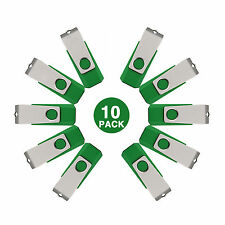 10 Lots Green 16GB USB Flash Drive Anti-skid Flash Memory Stick Swivel Pen Drive