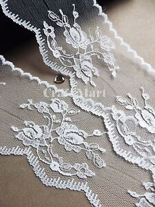 VINTAGE antique/off White/Ivory LACE RIBBON WEDDING TRIM Shabby rustic rose 75mm