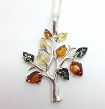 Multi Amber Tree Pendant Necklace, Solid Sterling Silver, Gift Box.