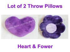 Throw Pillows Heart Shape & Flower Shape Plush Purple Teens Bedding Decor LOT 2