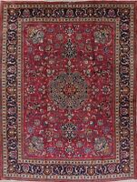Antique Geometric Red Kashmar Persian Oriental Hand-Knotted 10x13 Wool Area Rug