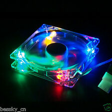 New Colorful Quad 4-LED Light Neon Clear 80mm PC Computer Case Cooling Fan Mod