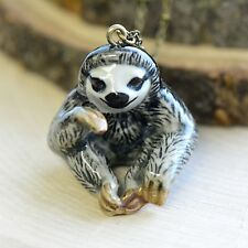 Hand Painted Porcelain Sloth Necklace Antique Bronze Chain Ceramic Animal