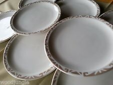 8 MID CENTURY SYRACUSE CHINA NUTMEG TAN DINNER PLATES AIRBRUSHED RESTAURANT WARE