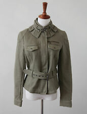 Banana Republic Army Green Ruffle Belted Utility Military Jacket Elbow Patch 8