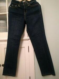Levi's 512 Perfectly Slimming Straight Leg Jeans Size 4M High Rise Denim Dark