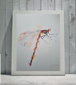 Large new Elle Smith original signed watercolour art painting of a Damselfly