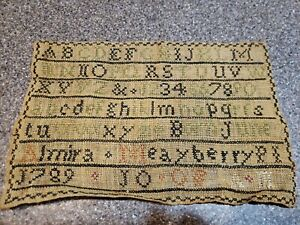 Antique Sampler Almira Mayberry 1789 Age 10.