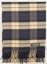 100% CASHMERE Scarf Navy Blue Tan Check Plaid Nova Soft SCOTLAND Wool Women ZS02