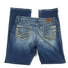 BKE Buckle Kate Stretch Thick Stitch Boot Distressed Blue Jeans Women's 34x31.5