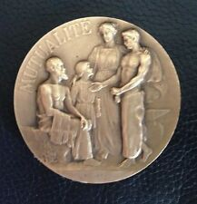 BRONZE ART- DECO MEDAL BY DROPSY, SEMI NUDE MAN, SMITH WITH FAMILY / M62