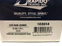 HO Scale Rapido 103014 Canadian National CN Cafe Bar Lounge 2509 w/ Lighting