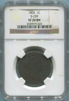 1802 Draped Bust Large Cent, NGC VF20 Brown. S-239