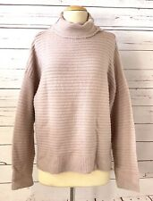 MADEWELL Size L Boxy Ribbed Belmont Mock Neck Pullover Knit Sweater Pink