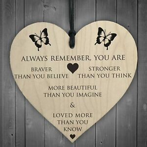 RED OCEAN You Are Braver Stronger Smarter & Beautiful Wooden Hanging Heart Frien