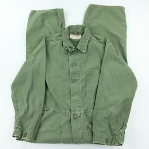 Sateen Type I Military Coveralls Green Mens Size Small Pockets 100% Cotton USAF