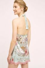 New $393 Anthropolgie Valery Silk Halter Chemise Slip Aqua Floral Lampone Lace