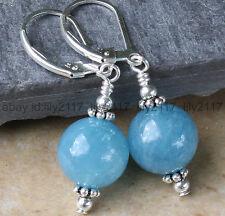Handmade 12mm Blue Chalcedony Gemstone Beads Dangle Earrings