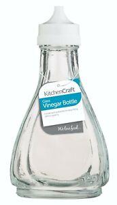Kitchen Craft Traditional Vinegar Shaker Glass Bottle White Top Cafe Chip Shop