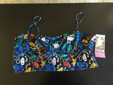 Bettie Page Blue Telephone Swim Suit Bikini Top  Plus Size 32 W Underwire Pin Up