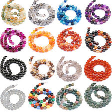 """1Bunch  Nature Agate Round Gemstone Loose Spacer Beads Stone 4/6/8/10/12mm 15"""""""
