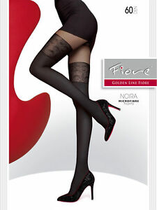 NOIRA 60 DEN FIORE Sexy microfibre tights with a hold-up imitation pattern.