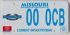 Missouri DMV Sample License Plate - COMBAT INFANTRYMAN ++ HTF