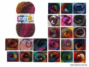 King Cole Riot Chunky Multi Coloured Knitting Yarn - 100g Acrylic Wool Blend